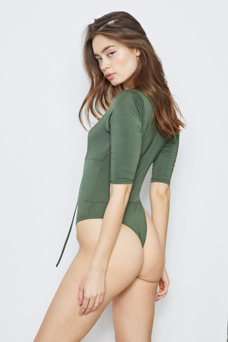 green reversible lace up bodysuit machine washable