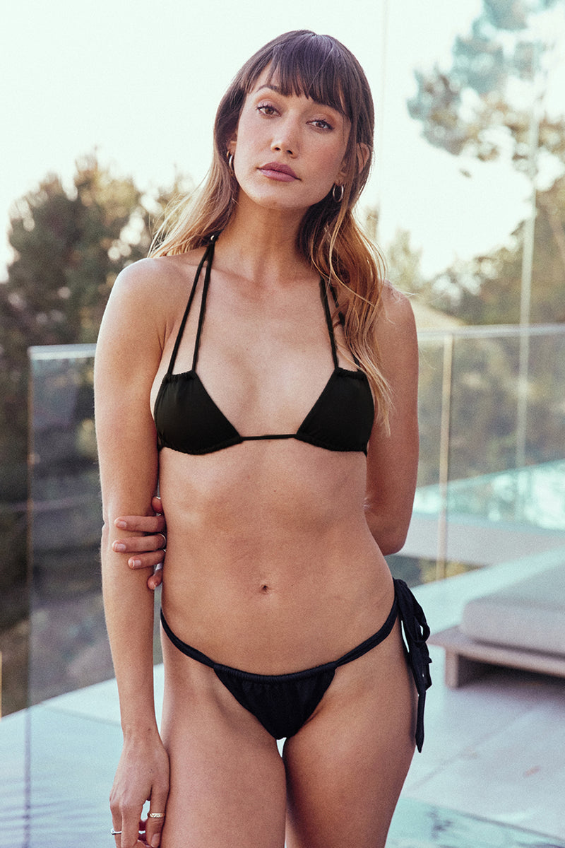 black vintage inspired bikini top minimal coverage eco-friendly & sustainable fabric