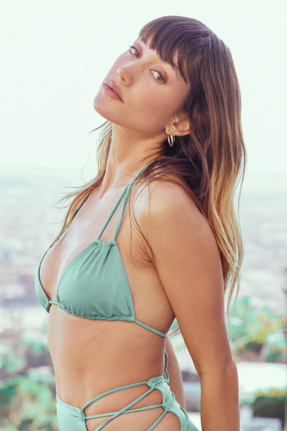 light green triangle bikini top moderate coverage adjustable eco-friendly & sustainable fabric