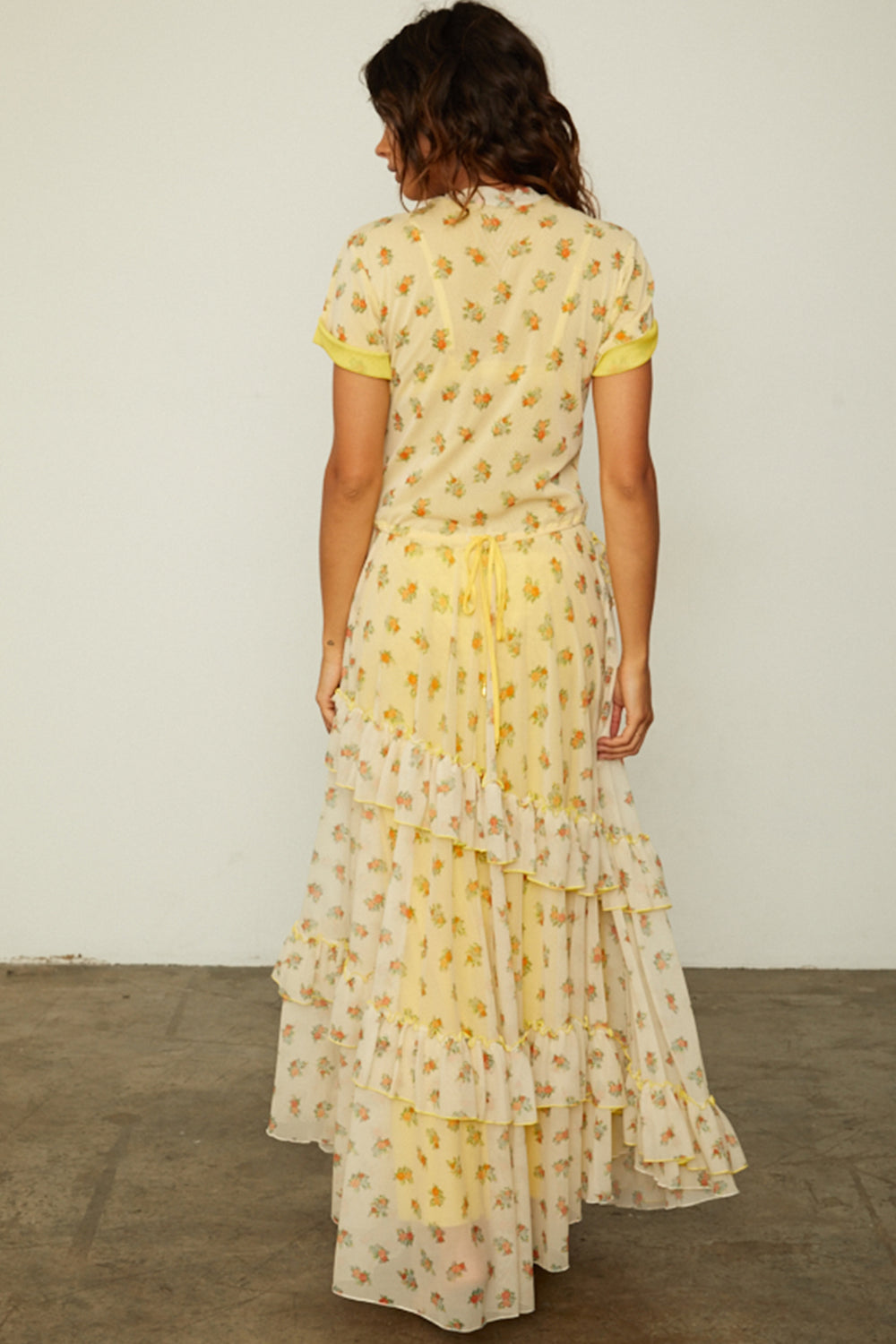nude and yellow floral mesh vintage inspired ruffled maxi dress with adjustable tie at the waist