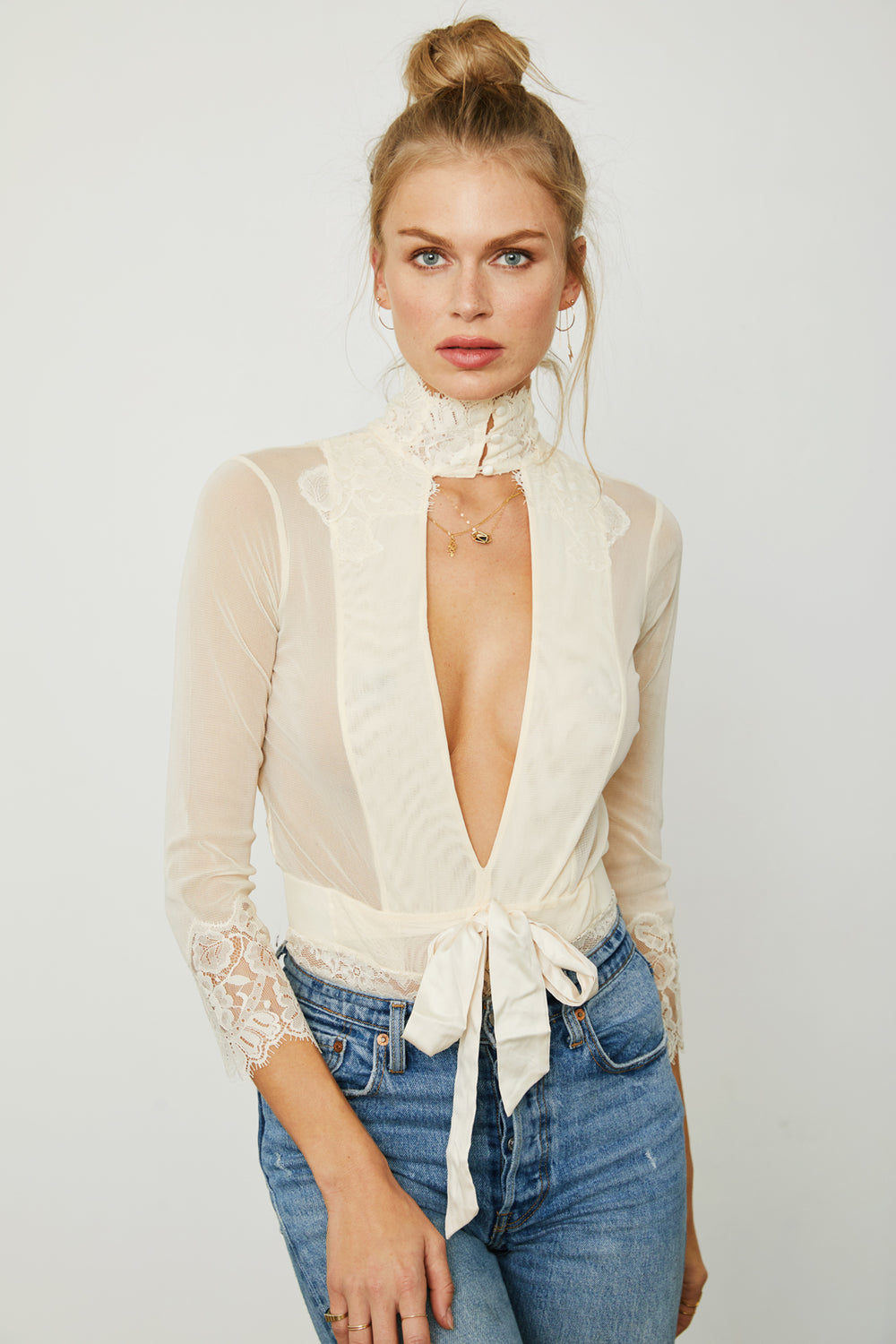 white creme reversible vintage inspired mesh and lace high neck bodysuit