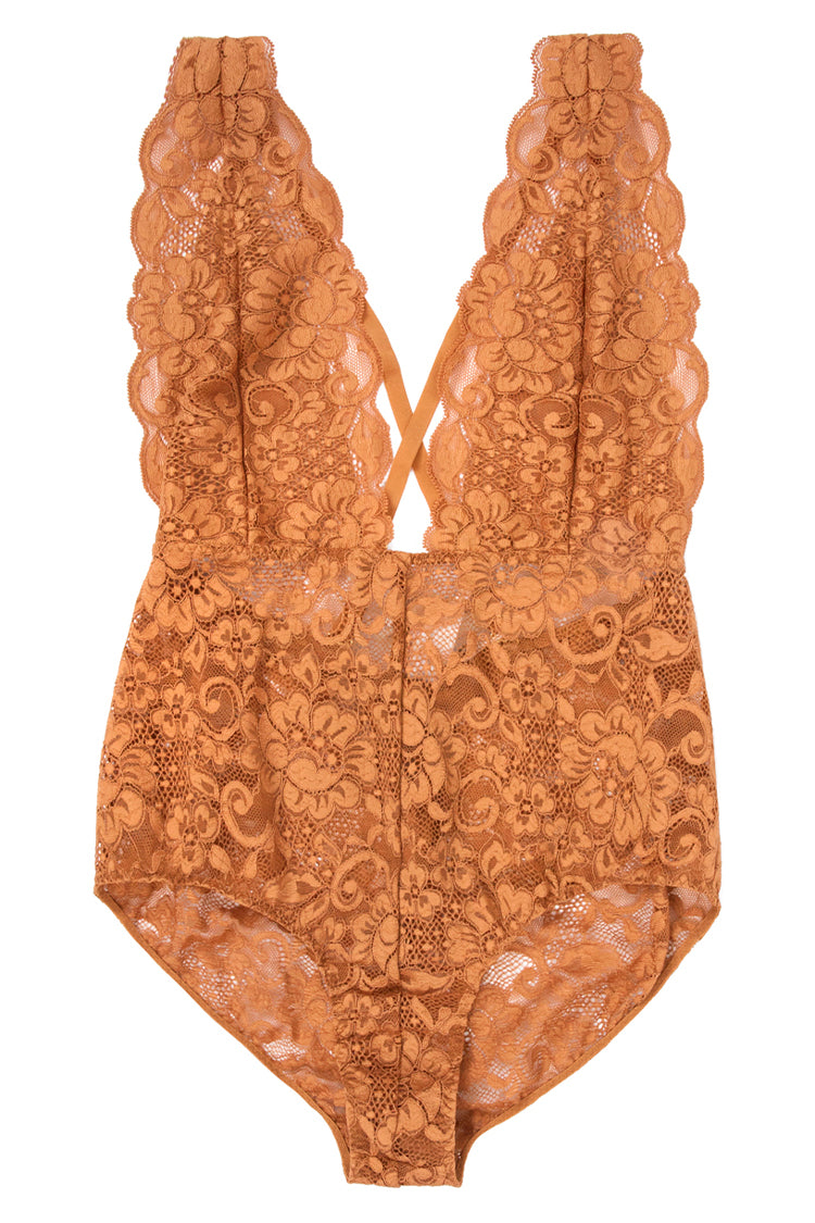 Comin' In HAHt Lace Bodysuit | Brown Sugar