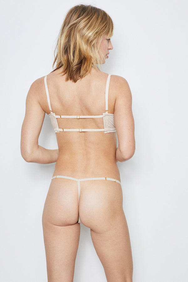 nude mesh thong panty one size machine washable eco-friendly