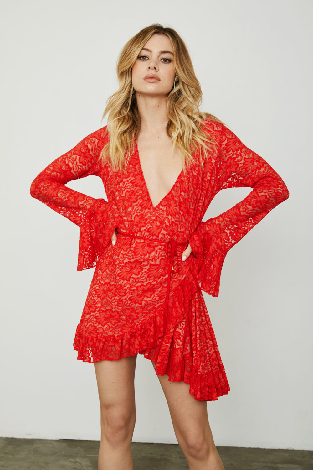 red lace vintage inspired mini wrap dress machine washable