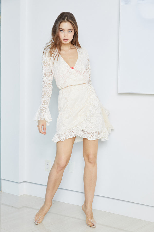 white lace vintage inspired mini wrap dress machine washable