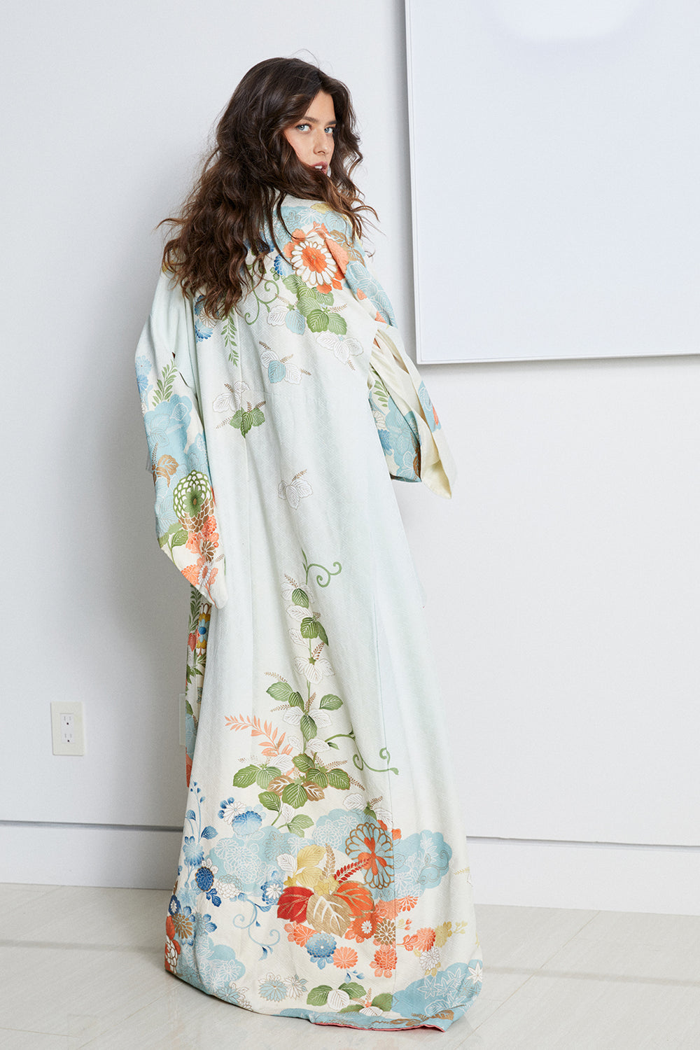 White, cream blue print long vintage kimono with nature detailing and asian inspired