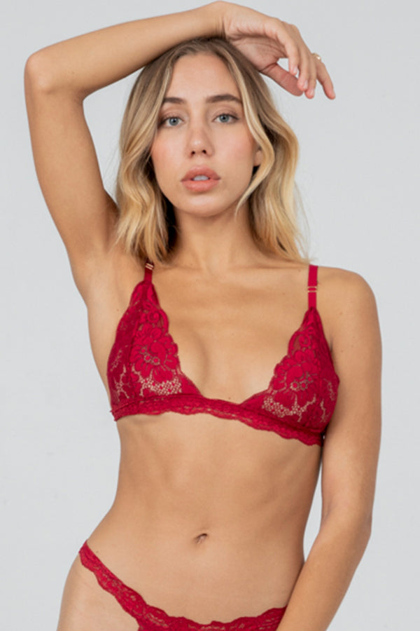 dark red lacy bralette.