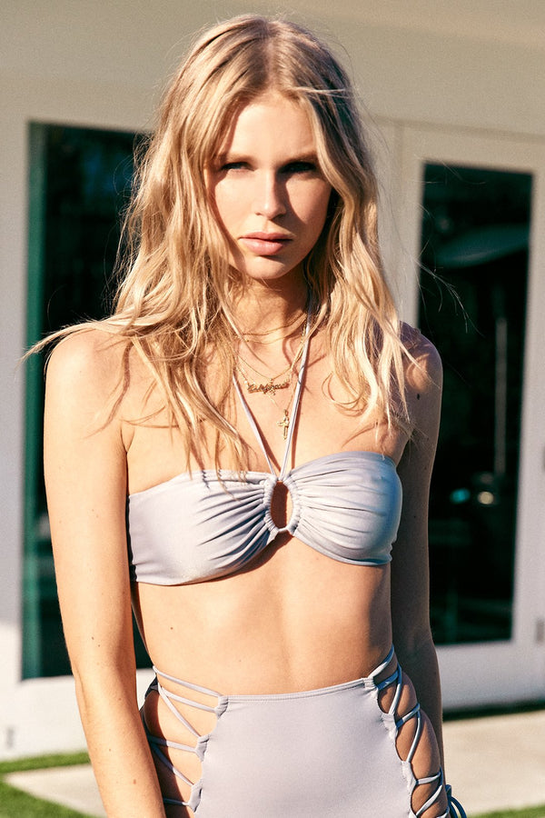 silver vintage inspired multi-way halter bikini top full coverage adjustable eco-friendly & sustainable fabric