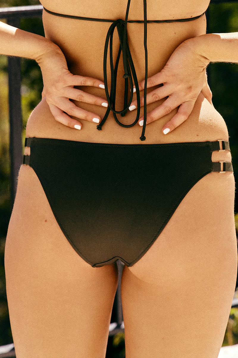 dark green adjustable cheeky bikini bottom eco-friendly sustainable