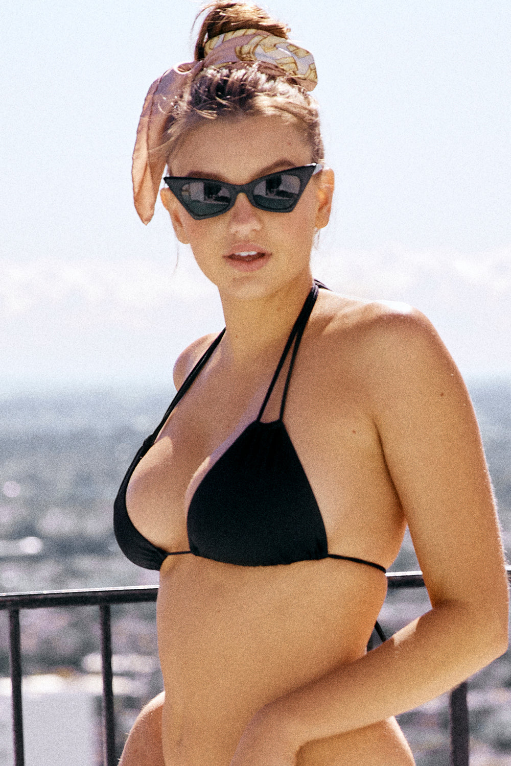 black triangle bikini top moderate coverage adjustable eco-friendly & sustainable fabric