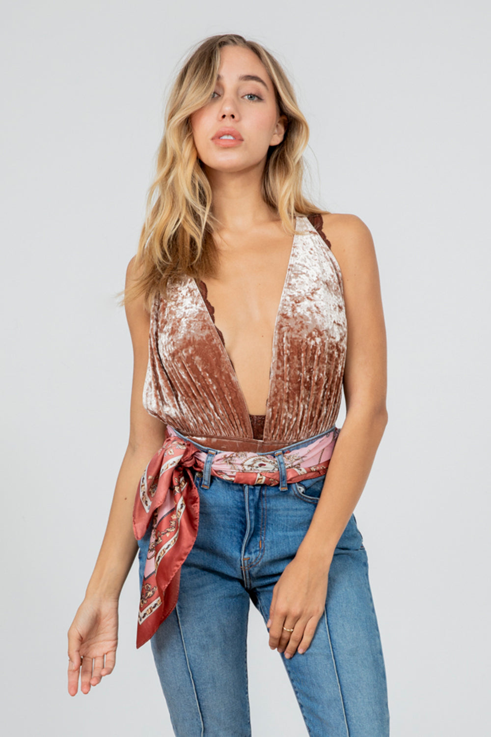 brown red pink deep v neck velvet bodysuit machine washable