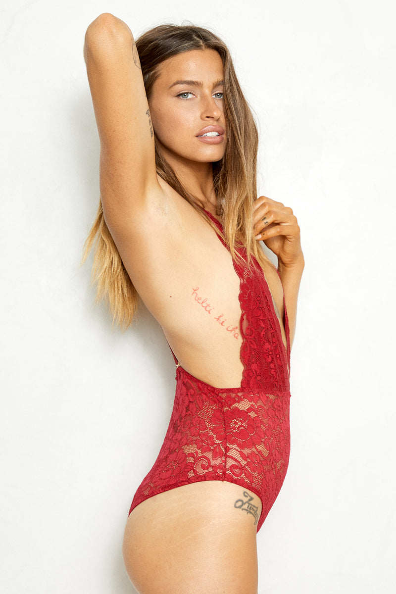 dark red lace deep v-neck bodysuit machine washable