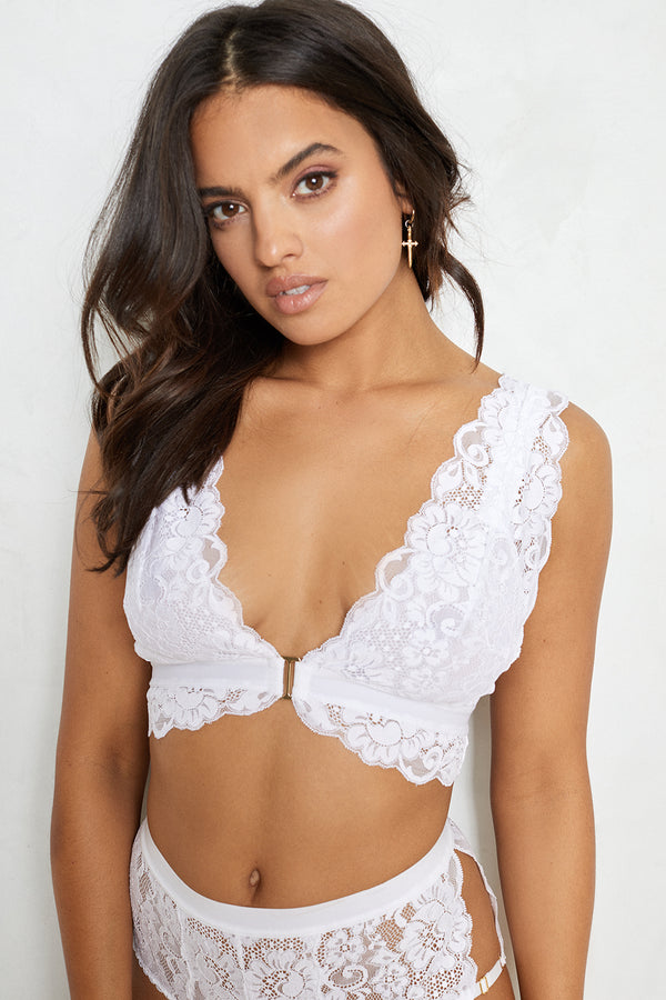white stretch lace, thick straps, deep V bra with adjustable straps