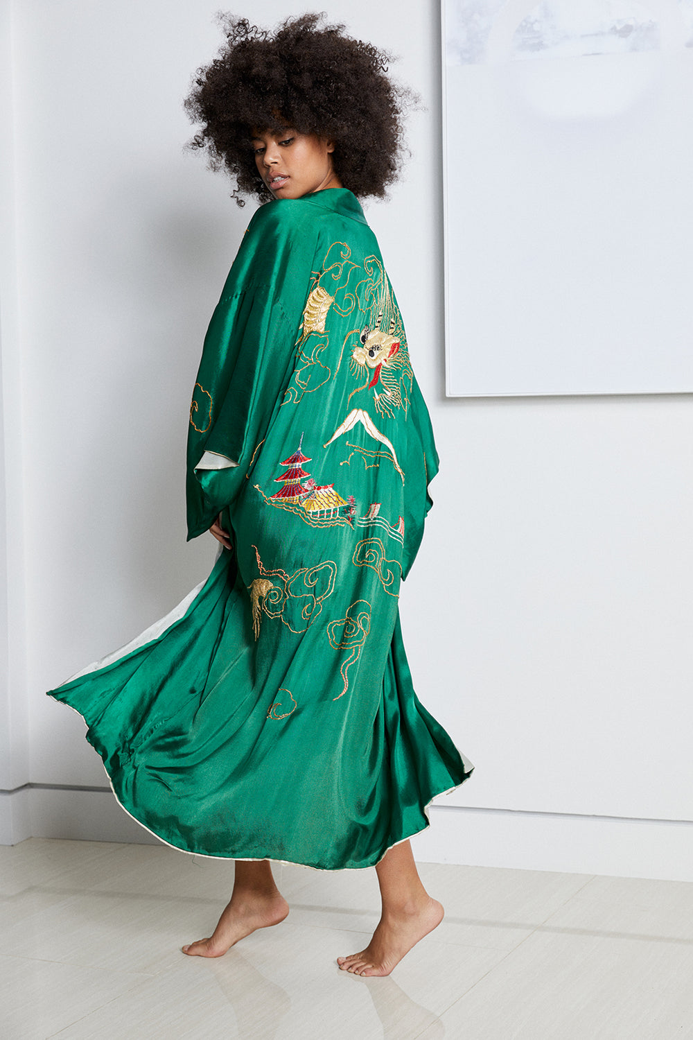 Green long vintage kimono with nature detailing and asian inspired