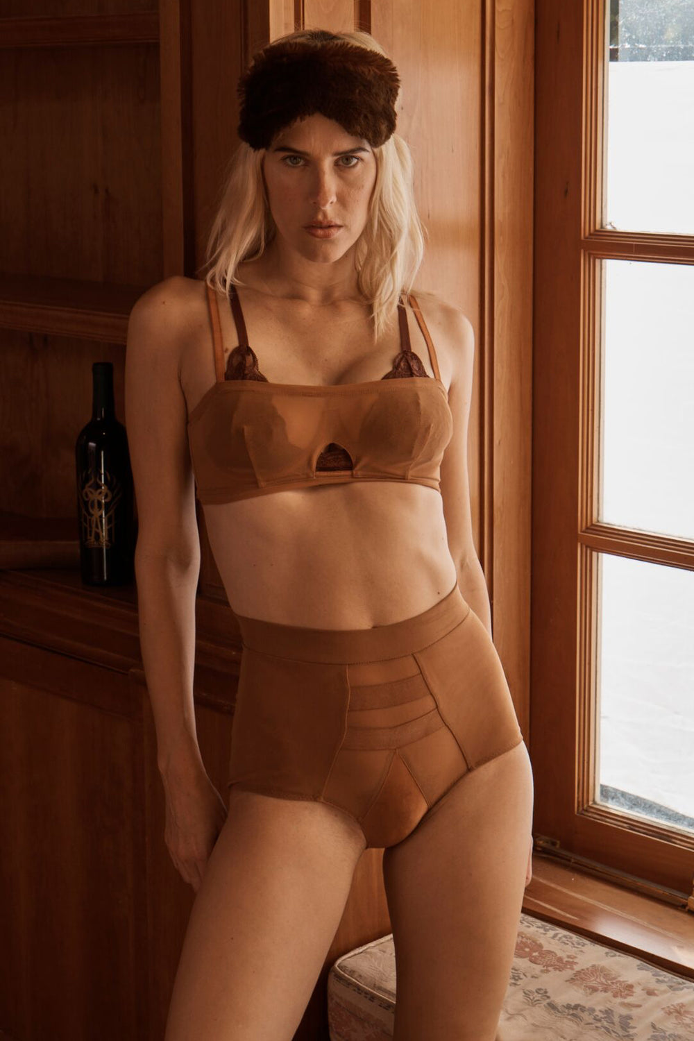 brown high-waisted mesh panty with an elastic waist band machine washable