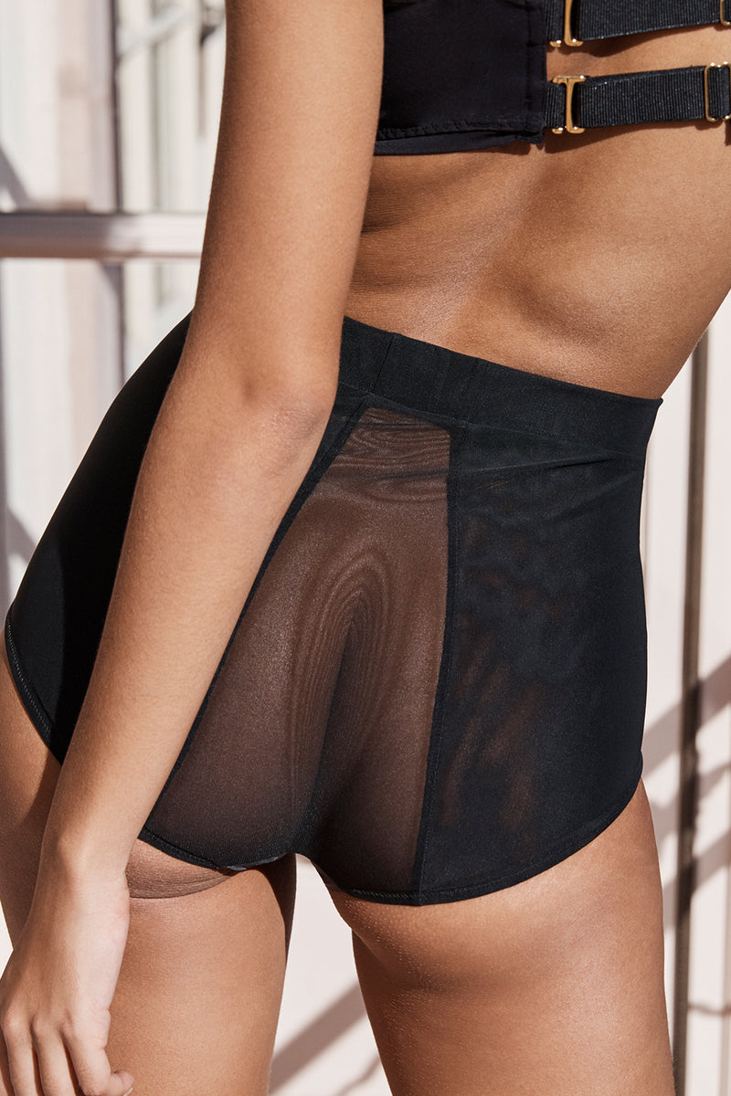black high-waisted mesh panty with an elastic waist band machine washable
