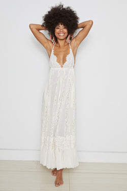 white bridal maxi knit lace dress deep v neck adjustable and lined