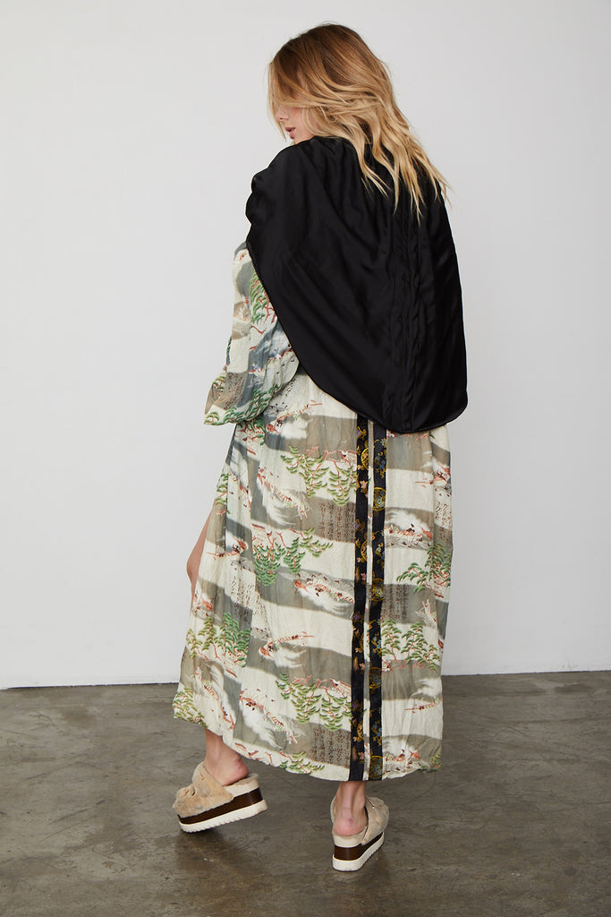 striped green long vintage kimono with nature detailing and asian inspired