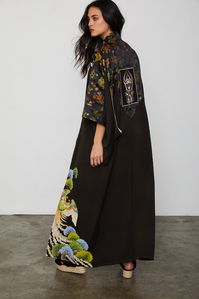 long black vintage kimono with floral detailing and asian inspired