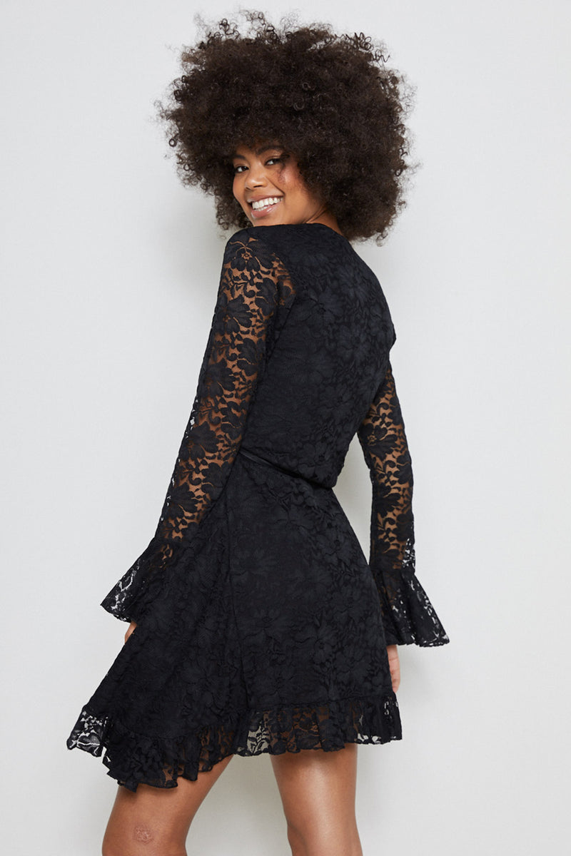 black lace vintage inspired mini wrap dress machine washable