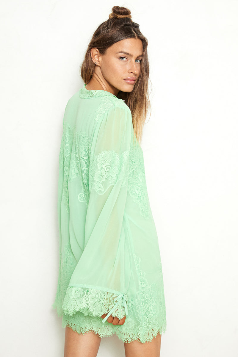 mint green lace and chiffon victorian high neck long sleeve mini dress bell sleeves machine washable