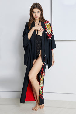 Black and red long vintage kimono with nature detailing and asian inspired