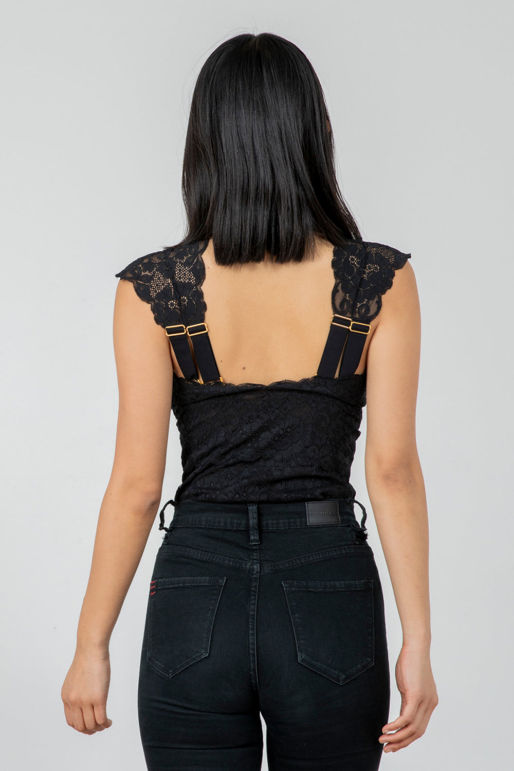 black lace v neck bodysuit with adjustable straps
