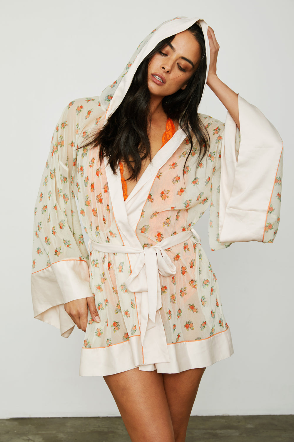white floral mesh vintage inspired kimono with hood machine washable