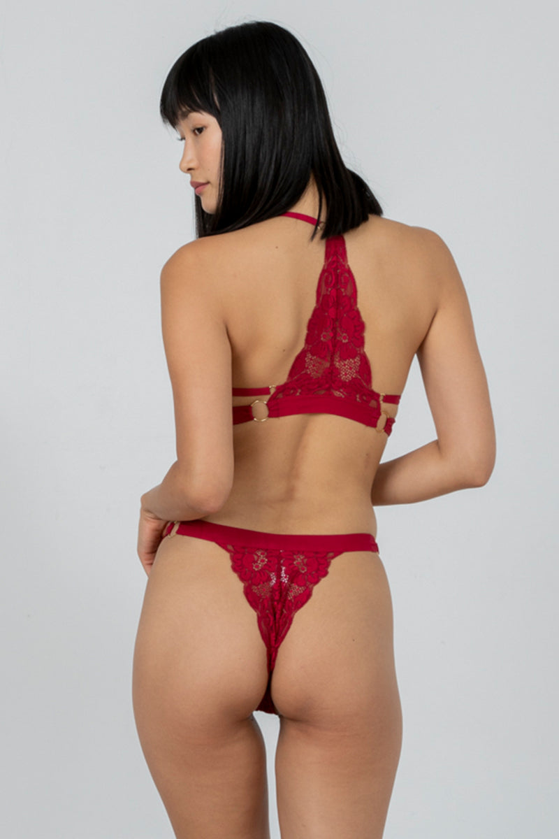 dark red adjustable lace cheeky panty