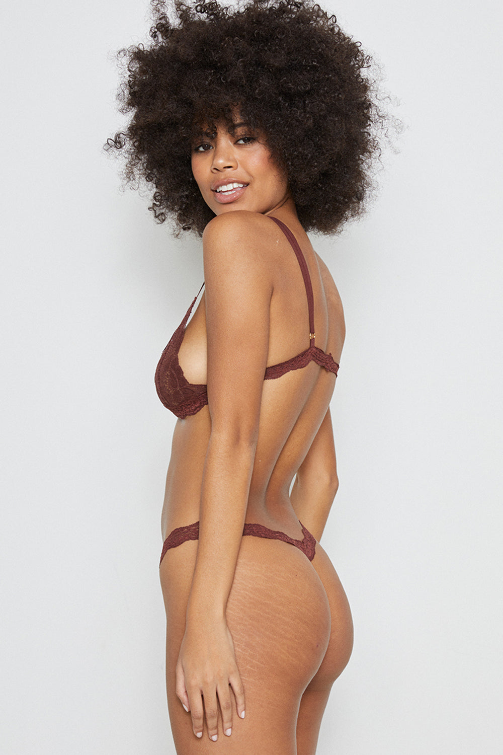 Brown lace thong panty machine washable eco-friendly