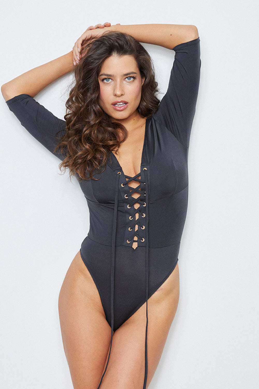 Black reversible lace up bodysuit machine washable