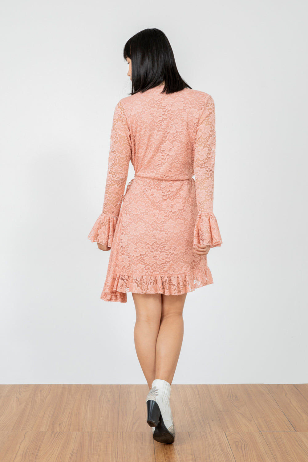 pink lace vintage inspired mini wrap dress machine washable