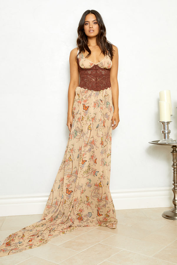 butterfly floral pattern chiffon halter neck dress long sides machine washable