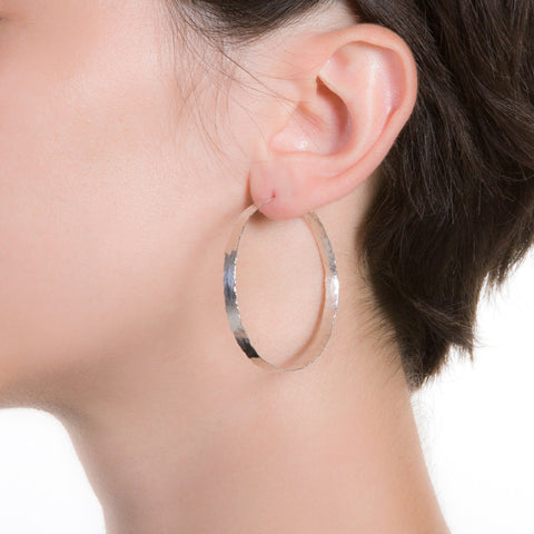Litho Forged Hoop Small Earrings