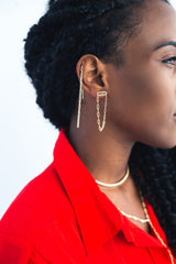 "Link Dual Threader Earrings | 3.5"" Earrings"