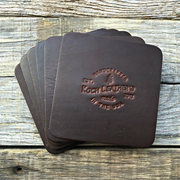 8 Horween Leather Coasters