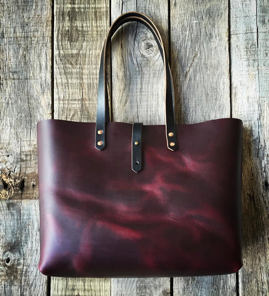 Burgundy Horween Leather Tote - 15