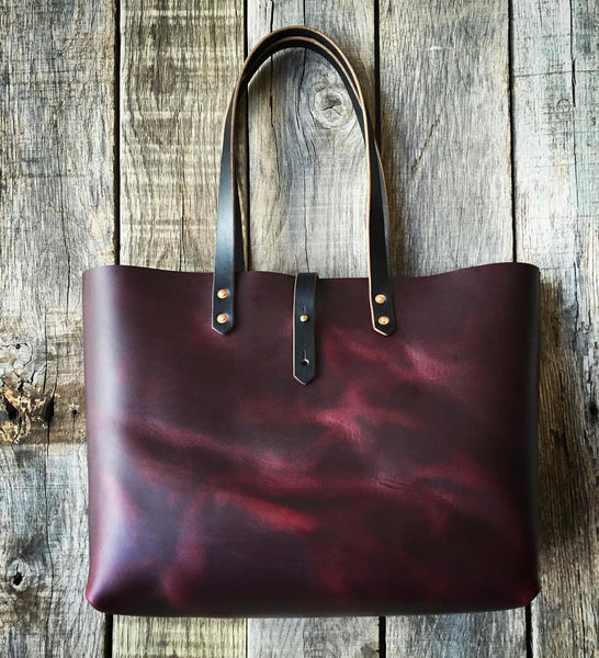 "Burgundy Horween Leather Tote - 15"" x 12"" x 5"""