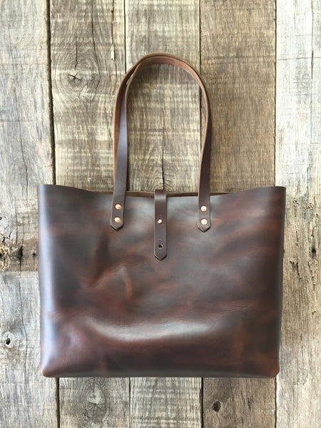 "Brown Horween Tote - 15"" x 12"" x 5"""