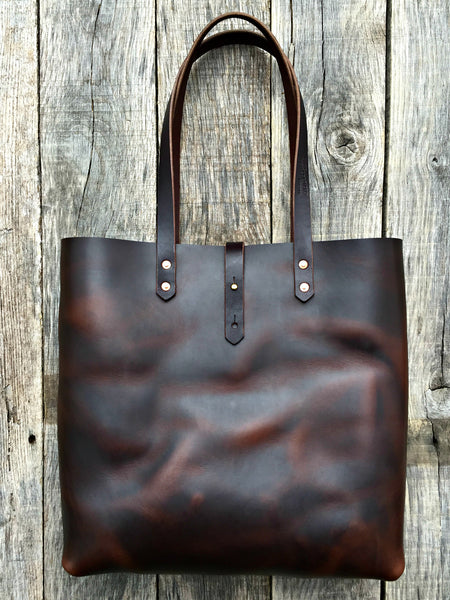"Brown Horween Tote - 14"" x 14"" x 5"""