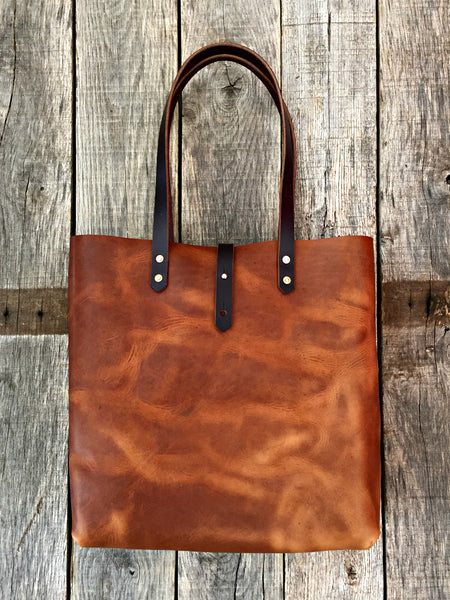 "Chestnut Horween Tote - 14""x14""x5"""