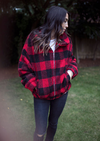 Buffalo Plaid Sherpa Bomber Jacket