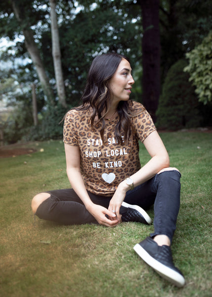 Stay Safe Shop Local Leopard Tee