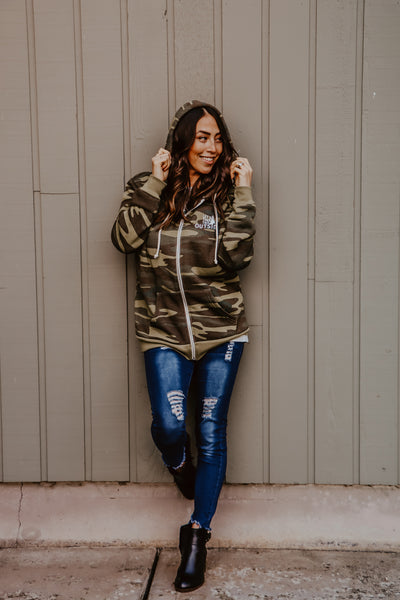 Let's Take this Outside Camo Zip Hoodie