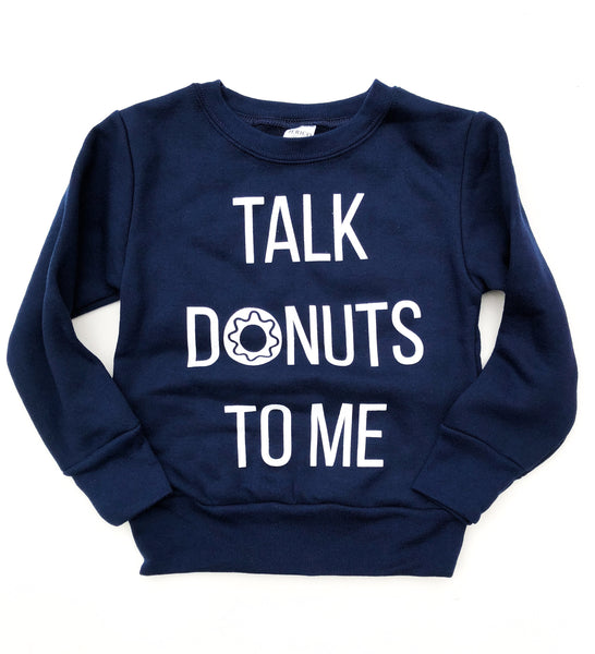 Talk Donuts to Me Navy Pullover