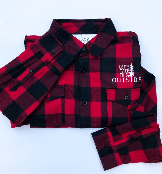 Let's Take this Outside Lumberjack Top