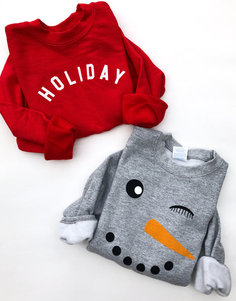 Winky Snowman Pullover ~ Adults