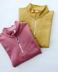 Rose + Gold Blank Basics ~ Adult 1/4 Zip Up Pullovers
