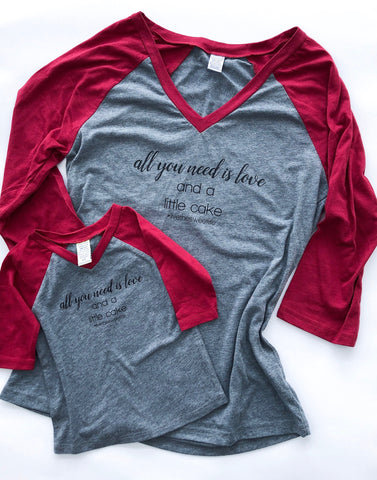 All You Need is Love + Cake Baseball Tee