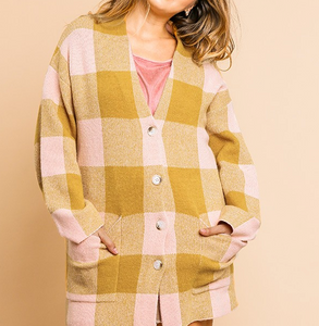 Plaid Print Coatigan